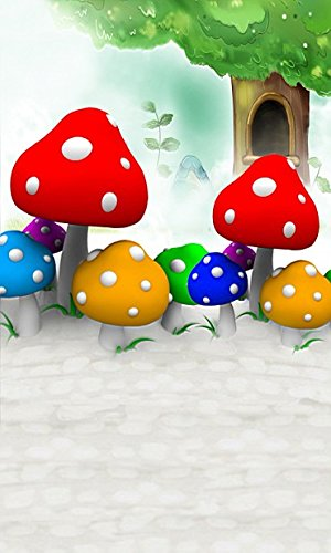 6.5 Ft*5 Ft 3d Photo Studio Backdrops Nice Colored Mushrooms Photographic Cartoon Background Cloth K-2479