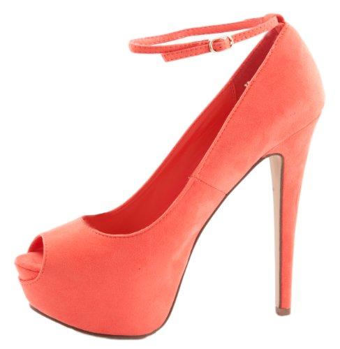 Breckelles Women's JUDY-21S High Heel Ankle Strap Peep Toe Platform Stiletto Pumps