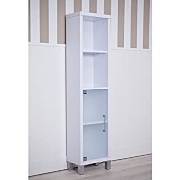 1 Door 3 Shelf Bathroom Cabinet - Available In 2 Beautiful Finish - Translucent Glass Door - Adjustable Inner Shelf (White)