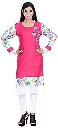 Amafhh Women's Rayon Regular Fit Kurta (amfkr7617pink, Pink, X-Large)