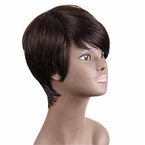 Meydlee ParruccheTaglio corto capelli sintetici parrucche per le donne nere traspirante Rose Net con cinghie regolabili dall'aspetto naturale parrucche solo come capelli veri con 1 libero parrucca Cap e un pettine parrucca