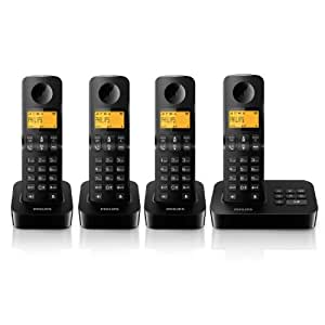 Philips D2054B/FR Téléphone fixe sans fil + 4 combinés avec répondeur + haut-parleur Noir
