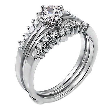 Christina 1.04ct Russian Ice on Fire CZ Sterling Silver Wedding Ring Set w Ring Guard (sizes 5 to 10)