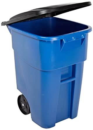 Rubbermaid Commercial FG9W2700BLUE Brute HDPE 50-gallon Rollout Trash Can with Lid, Rectangular, Blue