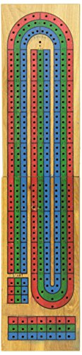 Solid Wood Track Board Cribbage with Texas Hold'em Cards