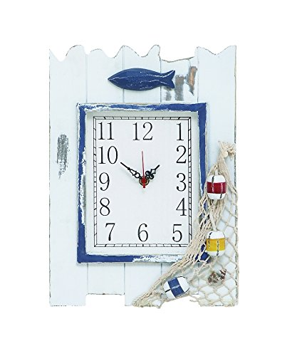 Wooden Clock With Sturdy Rectangular And Fish And Net Detailing By Benzara
