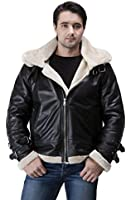United Face Mens Black Lambskin Leather Aviator Jacket B-3 Bomber With Hoodie