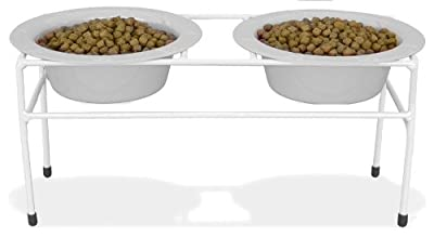 Click for Platinum Pets White Modern Double Diner Stand, with Two 28 Ounce Rimmed Bowls, White