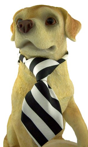 Pet Animal Collar Dress Up Accessory Black & White Stripe Dog Cat Adjustable Silk Neck Tie