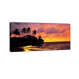 Leinwandbild Panorama Nr. 179 Strand Sonnenuntergang 100x40cm, Keilrahmenbild, Bild auf Leinwand, Sonne Küste Meer