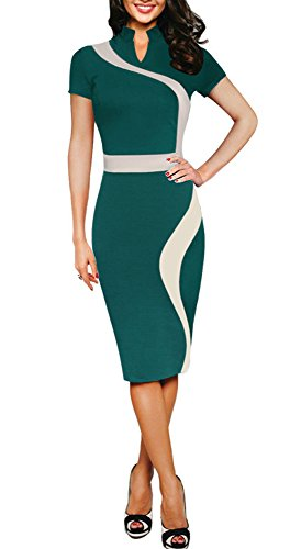 REPHYLLIS Women Elegant Wear to Work Casual Cocktail Evening Party Summer Business Pencil Dress Green L