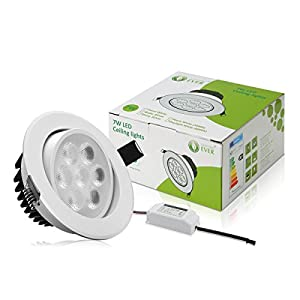 LE® 7W LED Recessed Ceiling Light, 75W Halogen Bulbs Equivalent,Ø90-95mm, Warm White, LED Spotlights, Recessed lighting, Pack of 4 Units by Lighting EVER