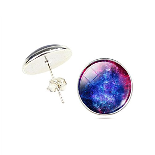 Blue Glass Cabochon Galaxy Universe Art Picture Round 13 mm Post Stud Earrings (Galaxy Ring compare prices)