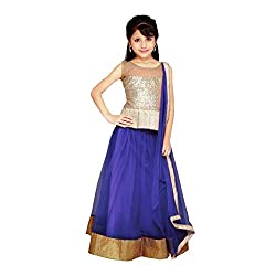 Beautiful Net Partywear Kids Blue Lehenga Choli (32 inches , 9-10 Years)
