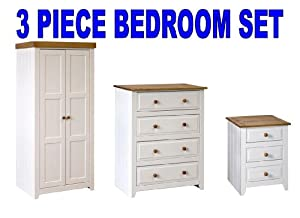 capri white pine 3 piece bedroom furniture package wardrobe chest