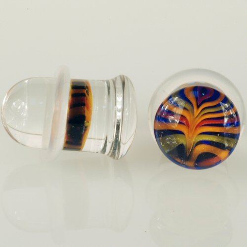 Pair of Glass Single Flared Feather Plugs: 7/16