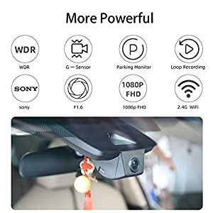 FITCAMX Dash Camera for Car 2018/2019 Toyota HIGHLANDER Hidden DVR Driving Recorder with Wifi Front lens 1080P FHD 170° Wide Angle G-sensor Parking Monitor Loop Recording Night Vision APP(Android IOS) (Color: Black)