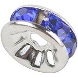 niceEshop(TM) Crystal Rondelle Spacer Bead Silver Plated 8mm Crystal