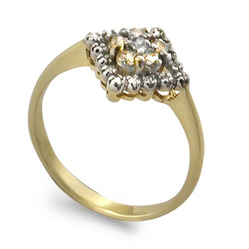 9ct Yellow Gold Ladies Cluster Ring Set with 0.35ct of Champagne and White Di...