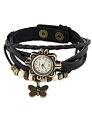 Young & Forever Multilayer Designer Black Genuine Leather Vintage Butterfly Bracelet Watch For Women By CrazeeMania...
