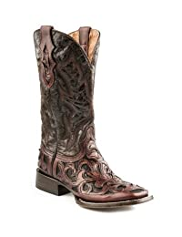 Stetson Men's Hand Tooled Cowboy Boot Square Toe
