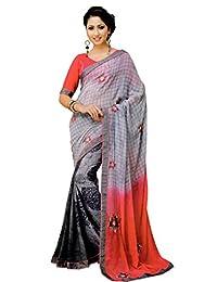 Aarti Saree Grey And Black Sari Georgette Sari Trendy Wear Festive Saree