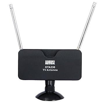 August DTA230 Antenna TV per canali in digitale terrestre - Antenna digitale portatile Indoor/Outdoor per TV Tuner (Sintonizzatori TV) USB / DVB-T TV / DAB Radio (Radio Digitale) - con base a ventosa