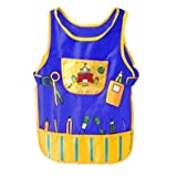 Children's Multicolored Sleeveless Oil-proof Water-proof Painting Craft Apron With Pockets And Velcro Straps -...