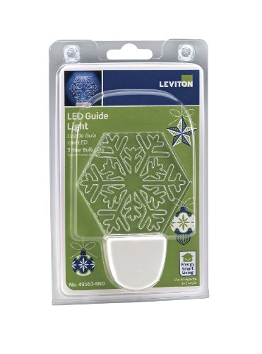 Leviton 49563-Sno Led Decorative Guide Light With Snowflake Shade, White
