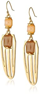 Vince Camuto Womens Ethereal Statement Two Stone Earrings Brushed Gold/Peach/Dune