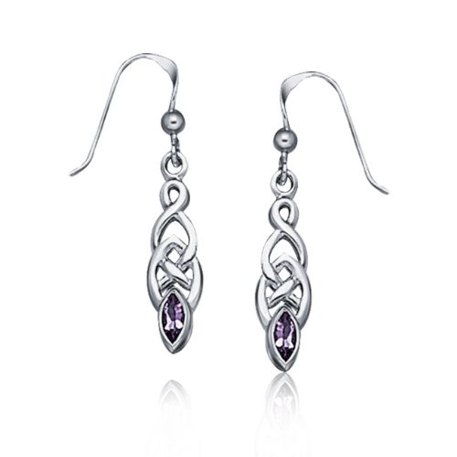 Bling Jewelry Genuine Amethyst Celtic Knotwork Drop Earrings 925 Sterling Silver