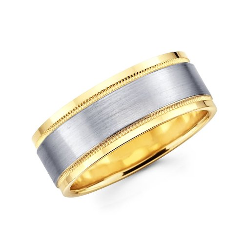 14K Yellow and White 2 Two Tone Gold 6mm Millgrain Brushed Designer Wedding Band - Size 10.5