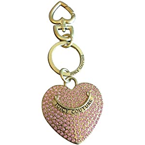 Juicy Couture Pink Rhinestone Heart Key Chain Ring FOB