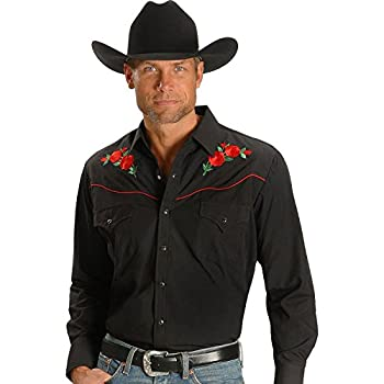 Ely Cattleman Men's Embroidered Rose Design Western Shirt - 15203901-88Blk