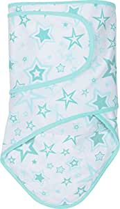 Miracle Blanket Baby Swaddle Blanket, White with Aqua Trim