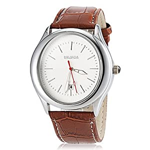 Men's Business Style Noble Round Dial Genuine Leather Band Quartz Wrist Watch(Assorted Colors) ( Color : Gold )