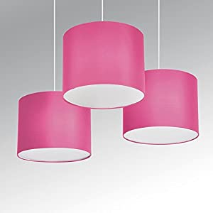MiniSun - Set Of 3 - Modern Pink Drum Pendant Ceiling Light Shades With Diffusers from MiniSun