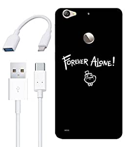 Combo of Forever Alone HD UV Printed Mobile Back Cover, Charging Cable and OTG Cable For Letv Le 1S