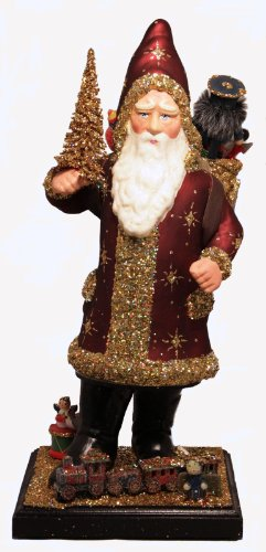 Ino Schaller Burgundy Santa with Gold Glitter Basket Paper Mache Candy Container