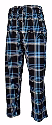 Carolina Panthers NFL Men's Plaid Pajama Pants with Embroidered Logo
