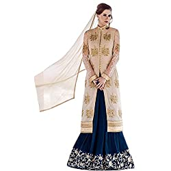 Latest Wize Marvelous Off-White And Blue Georgette Embroidered Dress Material