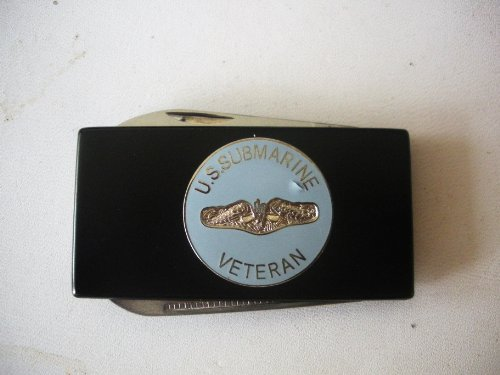 United States Submarine Service Black Stainless Steel Money Clip With Knife & Nailfile In Body Of Clip