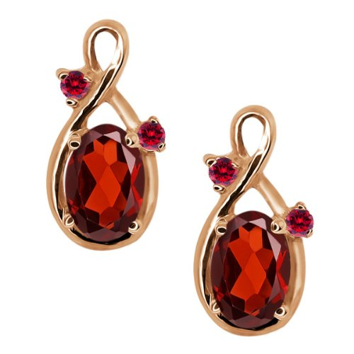 1.18 Ct Genuine Oval Red Garnet Gemstone 18k Rose Gold Earrings