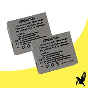 Two Halcyon 1400 mAH Lithium Ion Replacement Battery for Canon PowerShot ELPH 330 HS 12.1 MP Digital Camera and Canon NB-4L
