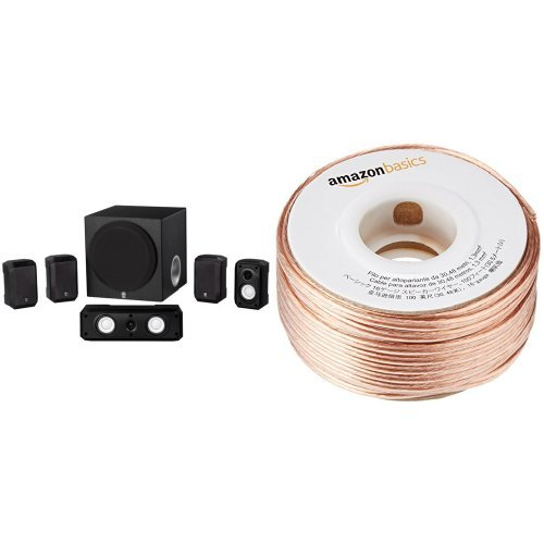 Yamaha NS-SP1800BL 5.1-Channel Home Theater Speaker System and AmazonBasics 16-Gauge Speaker Wire – 100 Feet Bundle Special Price