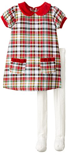 Mud Pie Little Girls' Tartan Dress And Tights, Red, 5T front-569274