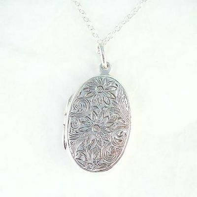 Sterling Silver Floral Pattern Large Oval Locket Necklace, 16