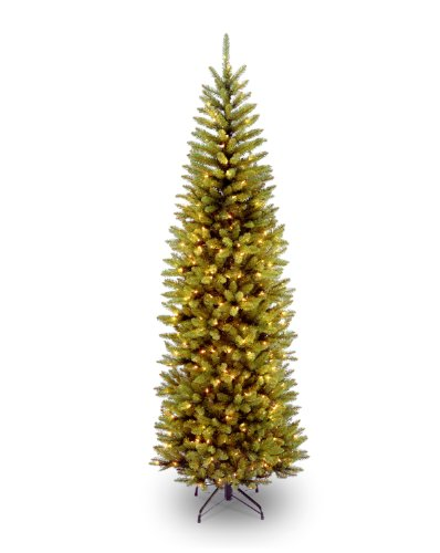 National Tree 7 1/2' Kingswood Fir Pencil Tree, Hinged, 350 Clear Lights