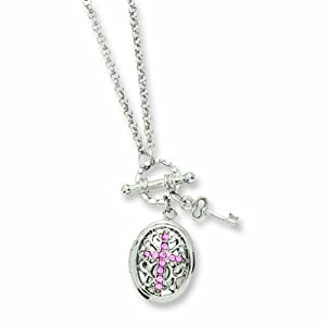 Silver-tone Light Pink Crystal Cross Locket 24 Necklace