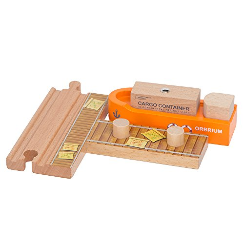 58 Piece Wooden Train Track Expansion Pack Featuring Container Ship